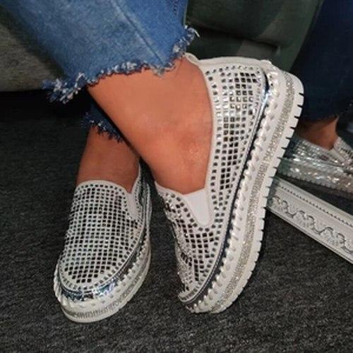Women Flats Shoes Woman PU Leather Flat Slip On Plus Size Shiny