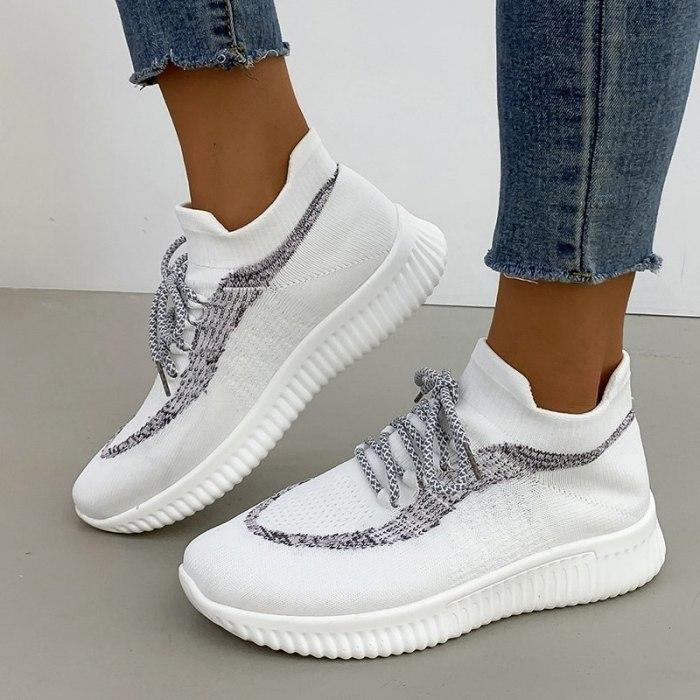 Women Flats Casual Shoes Sneakers Flat Lace Up Running Shoe