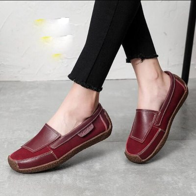 Women Flats Shoes Plus Size PU Leather Flat Casual Loafers Slip On