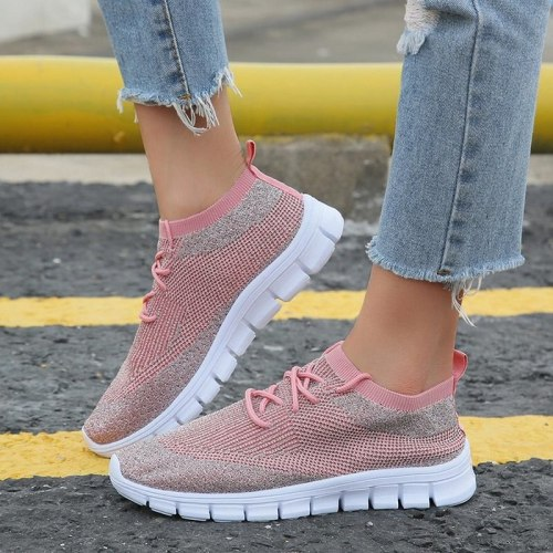 Women Flats Casual Shoes Flat Lace Up Soft Shoe Sneakers