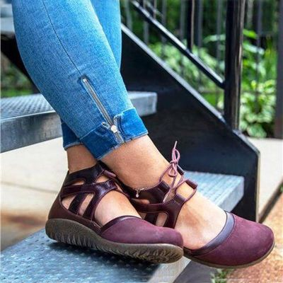 Women Low Heels Girls Round Toe Gladiator Sandals Casual Shoes Woman Vintage PU Leather