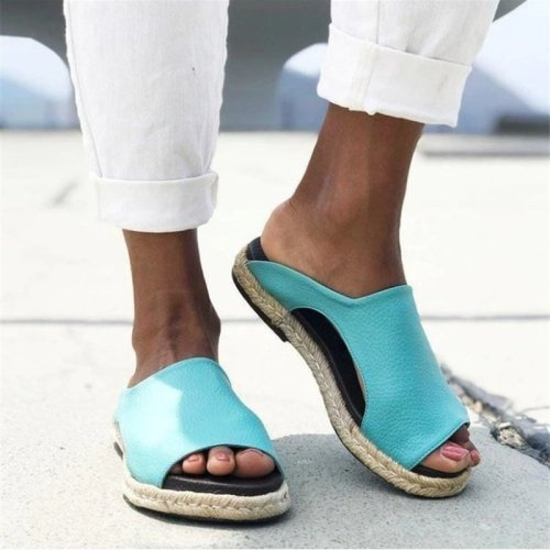 Women Summer Beach Plus Size Flats Sandals Casual Shoes Open Toe Gladiator Slip On