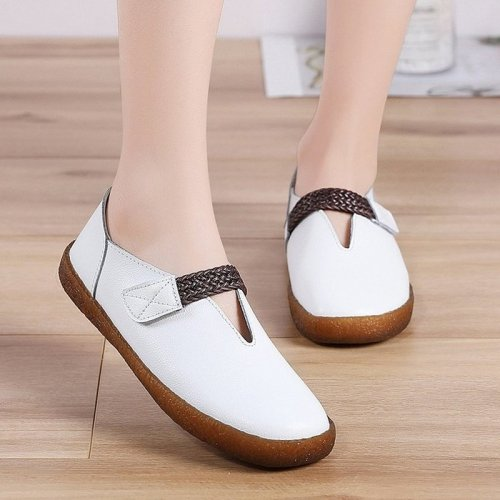 Women Flats Casual Shoes Plus Size PU Leather Loafers Slip On
