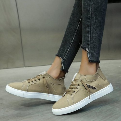 Women Flats Casual Shoes Woman Plus Size Canvas Flat Sneakers Shoe Lace Up
