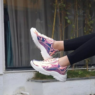 Women Flats Shoes Woman Lace Up Sneakers Sports Students Shiny Bling Girls