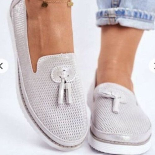 Women Flats Shoes Plus Size Sneakers Shiny PU Leather Loafers Tassels