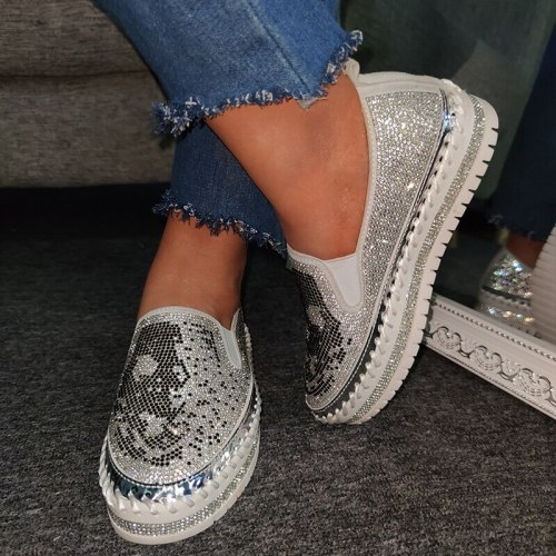 Women Flats PU Leather Flat Slip On Plus Size Shiny Bling Shoes