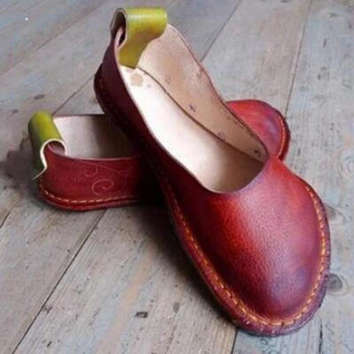 Women Flats Casual Shoes Round Toe Flat Vintage PU Leather Slip On Loafers