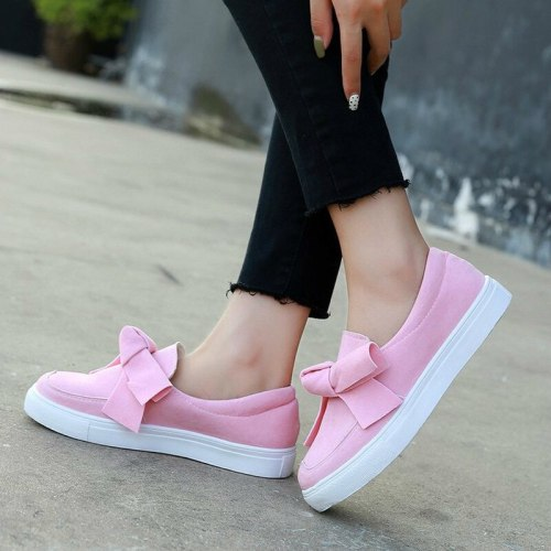 Women Flats Shoes Woman Flat Slip On Casual Bowties Plus Size Faux Suede