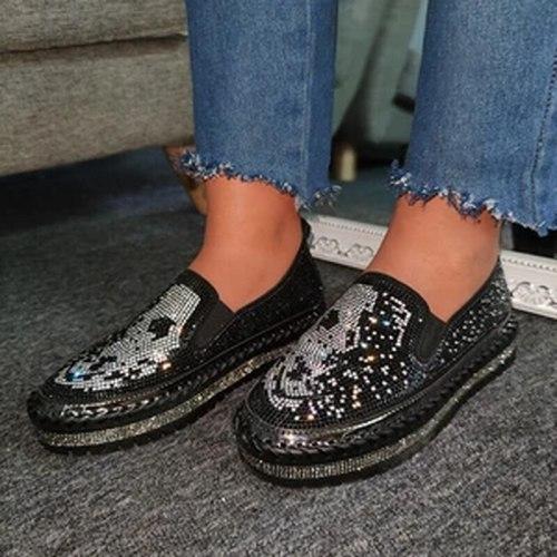 Women Flats PU Leather Flat Slip On Plus Size Shiny Bling Shoes