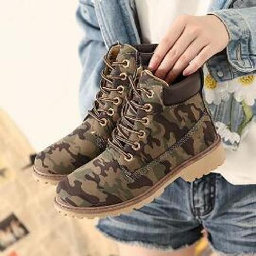 Women Ankle Boots Booties Low Heels PU Leather Plus Size Lace Up Casual Shoes