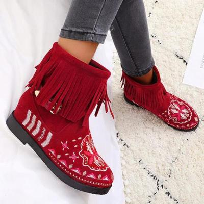 Women Ankle Boots Shoes Short Booties Embroidery Ethic Shoe