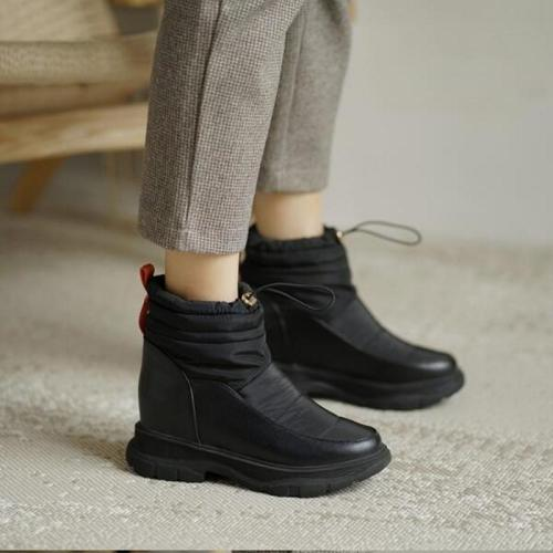 Women Ankle Boots Low Heels Shoes Woman Snow Warm Plus Size Casual