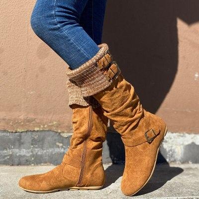 Women Mid-Calf Boots Flats Shoes Woman Vintage Gladiator Warm Shoe