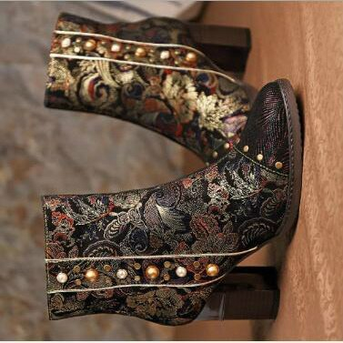 Women Ankle Boots High Heels Pumps Vintage PU Leather Plus Size Booties