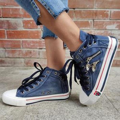 Women Flats Casual Shoes Woman Lace Up Plus Size Denim Jean Ankle Boots Shoe