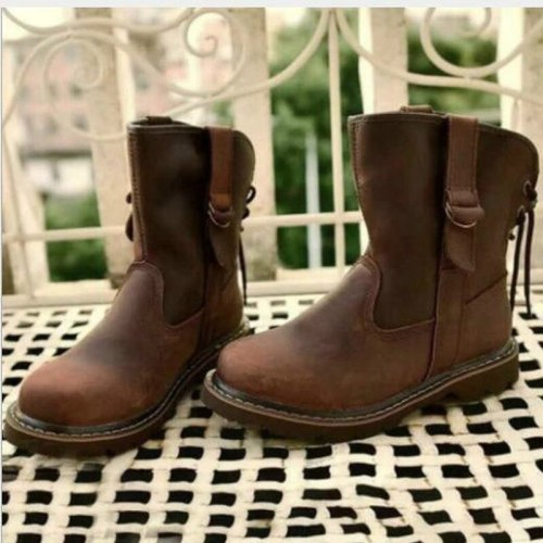 Women Ankle Boots Low Heels Vintage PU Leather Gladiator Plus Size Matin Shoes