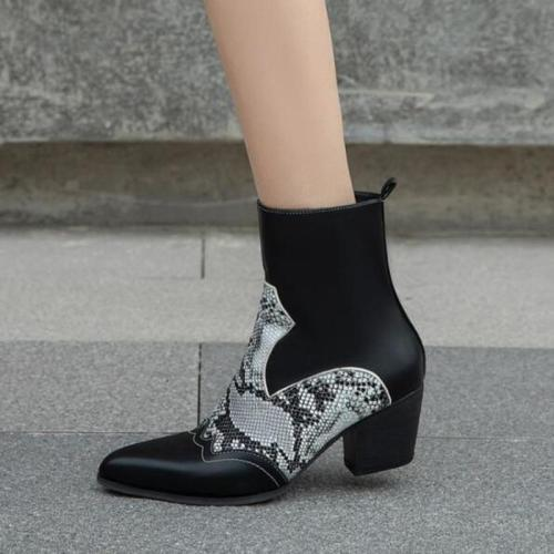 Women Ankle Boots Mid Heels Shoes Vintage PU Leather Gladiator Shoe