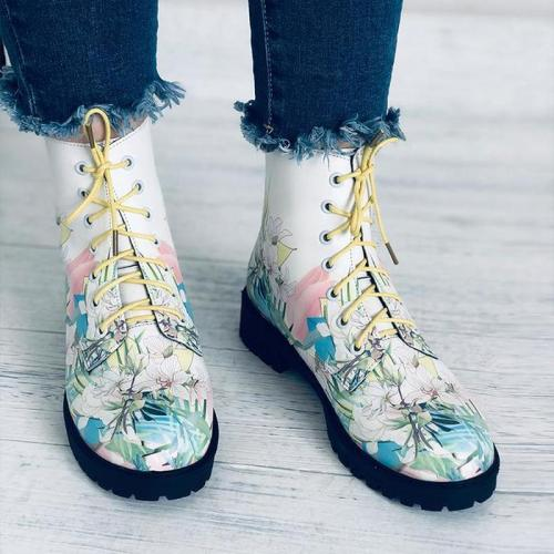Women Ankle Boots Low Heels Shoes Woman Booties PU Leather Matin Shoe