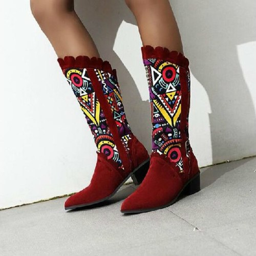 Women Mid-Calf Boots Mid Heels Shoes Woman Gladiator Plus Size Pointed Toe
