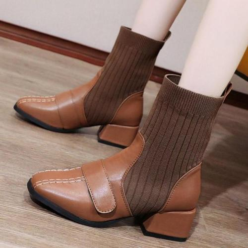 Women Mid-Calf Boots Mid Heels PU Leather Slip On Shoes Plus Size Short Booties