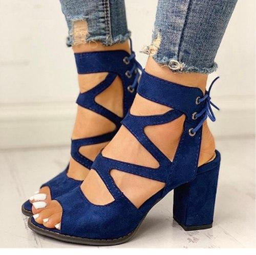 Sandals Peep Toe Party Slides Women Summer Mid Heels Pumps Shoes Woman