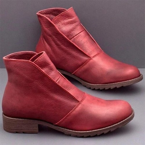 Women Ankle Boots Flats Slip On Shoes Gladiator Vintage PU Leather Round Toe Flat Shoe