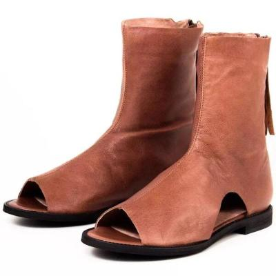 Women Summer Sandals Flats Shoes Peep Toe Vintage PU Leather Mid-Calf Ankle Boots