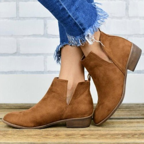 Women Ankle Boots Gladiator Flats Shoe Plus Size Slip On Vintage Flat Shoes Short Booties