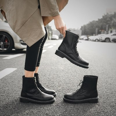 Women Ankle Boots Low Heels Pumps Booties Plus Size PU Leather Gladiator Matin Shoes