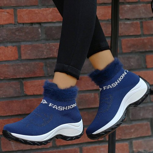 Women Ankle Boots Mid Heels Wedges Shoes Woman Snow Warm Slip On Shoe