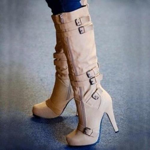 Women Knee High Boots High Heels Shoes Woman Booties Gladiator PU Leather Warm Shoe