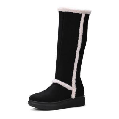 Women Knee High Boots Low Heels Wedges Shoes PU Leather Winter Snow Warm