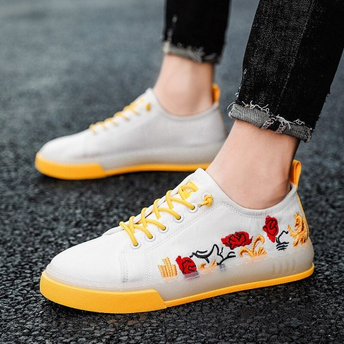 Mens Shoes Fashion Flowers Canvas Comfortable Sneakers