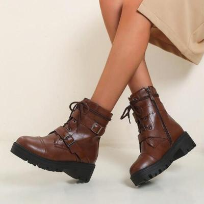 Women Ankle Boots Mid Heels Shoes Booties Plus Size Gladiator PU Leather Lace Up