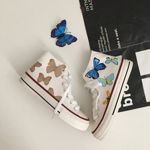 Canvas Shoes Girls Butterfly Sneakers Fashion Stylish Women High Top Casual Shoes