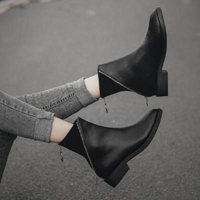 Women Ankle Boots Low Heels Pumps Booties Plus Size PU Leather Gladiator Matin Shoes Woman