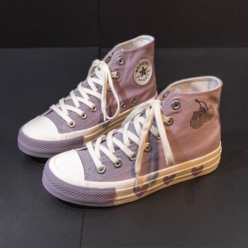 Canvas Shoes for Girls High Top Lace Up Woman Chic Sneakers Students Casual Shoes