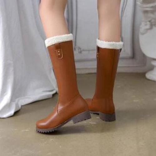 Fashion Women Mid-Calf Boots Low Heels Shoes Woman Booties Winter Snow Warm Shoe