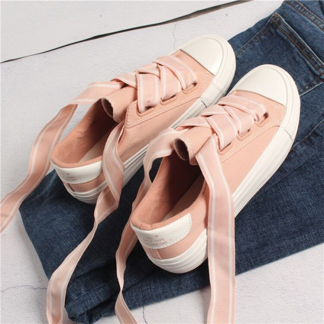 Women Canvas Shoes with Lace Female Sweet Casual Shoes Fashion Trends