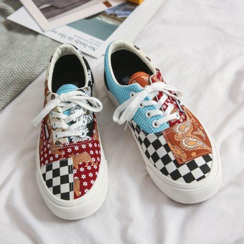 Retro Canvas Shoes Lace Up Low Unisex Woman Man Shoes