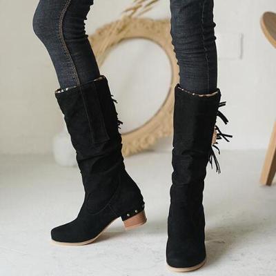 Women Mid-Calf Boots Mid Heels Shoes Warm Plus Size Tassels Shoe