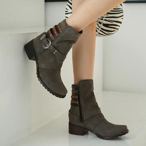 Women Mid-Calf Boots Low Heels PU Leather Shoes Autumn Winter Warm Matin Shoe