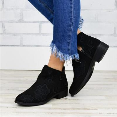 Women Ankle Boots Shoes Vintage PU Leather Low Heels Pump Booties Matin Shoes