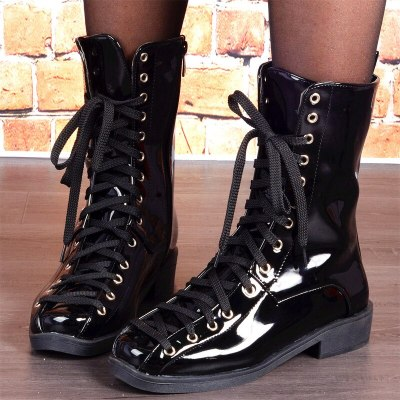 Fashion Women Ankle Boots Flats Shoes Woman Booties Leather Lace Up Shoe