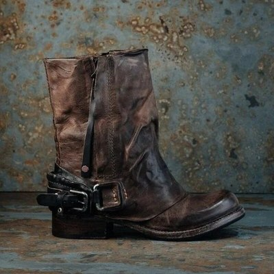 Women Mid-Calf Boots Low Heels Shoes Woman Vintage PU Leather Warm Matin Shoe