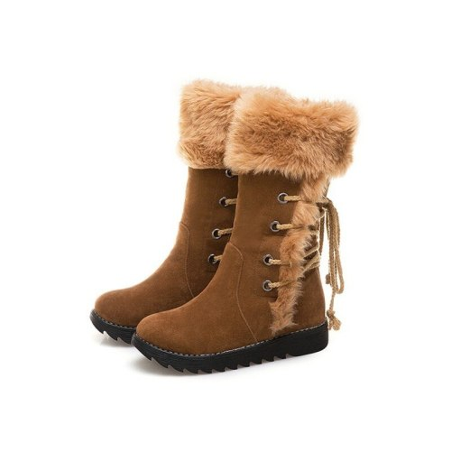 Shoes Woman Booties Women Mid-Calf Boots Winter Snow Warm Wedges Flats Shoe