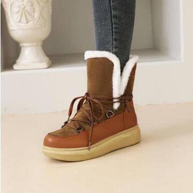 Women Ankle Boots Short Flats Winter Snow Warm Wedges Shoes Plus Size Shoe