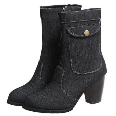 Women Mid-Calf Boots High Heels Shoes Woman Warm Booties Shoe