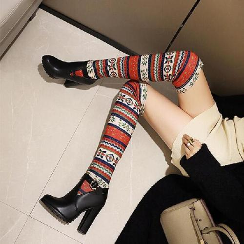 Women Knee High Boots High Heels Snow Warm Slip On Shoes Plus Size Gladiator Booties